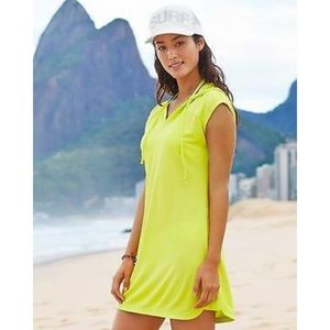 Athleta Wick-It Hoodie Neon Coverup Size Small